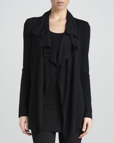 Flutter-Front Cardigan Jacket, Black