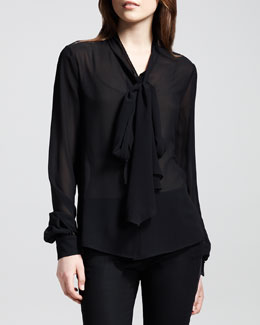 Saint Laurent Silk Bow Blouse