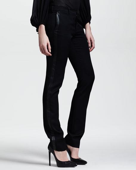 Leather-Trim Tuxedo Pants