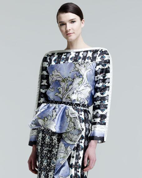 Katia Printed Faux-Wrap Blouse