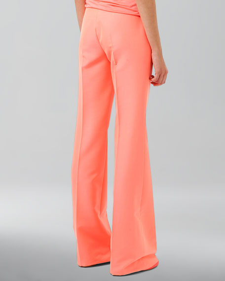 Cotton-Blend Gabardine Boot-Cut Pants, Fluo