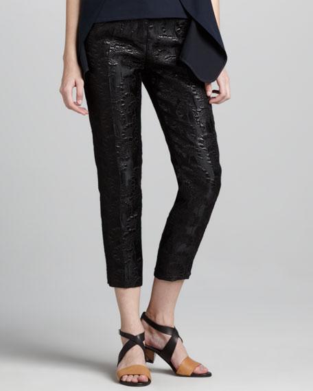 Cropped Shimmer Jacquard Pants, Black