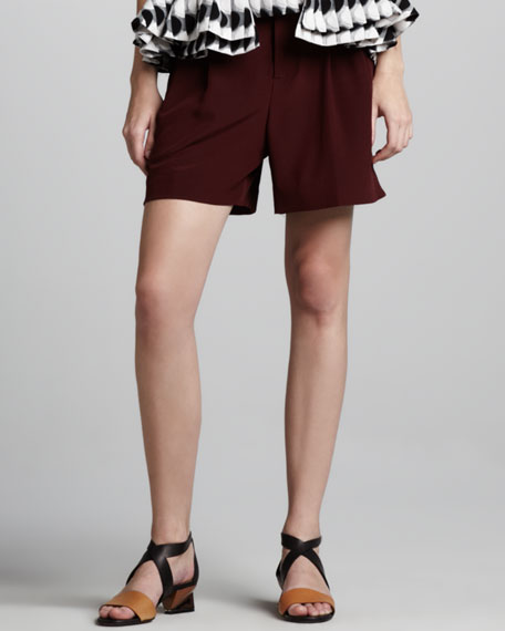 Pleated Shorts, Dark Red