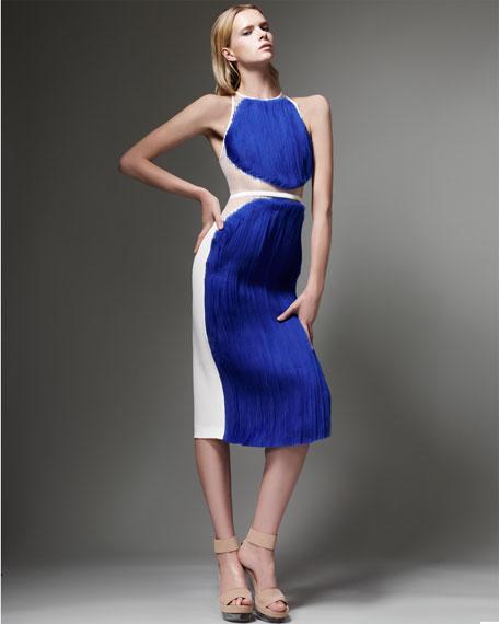 Organza-Front Racerback Dress