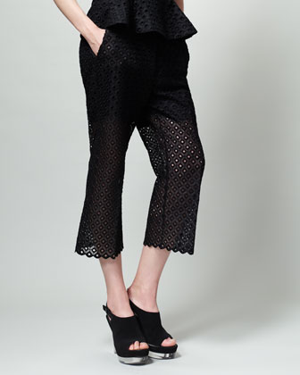 Diamond-Eyelet Slouchy Pants