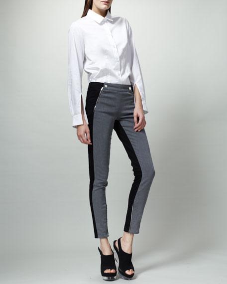 Bicolor Lulu Jeans, Gray/Black