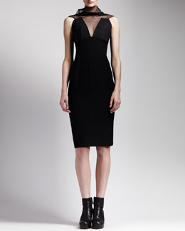 Rick Owens Sheer-Neck Back-Zip Dress