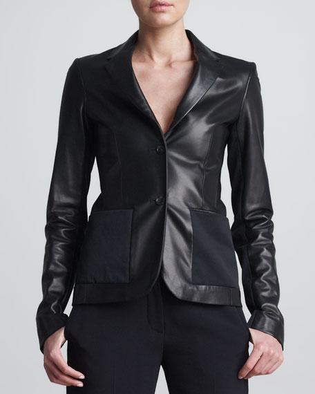 Habrish Leather Boyfriend Jacket, Black