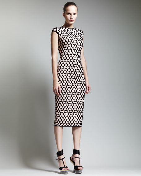 Honeycomb Cap-Sleeve Midi Dress, Nude/Black