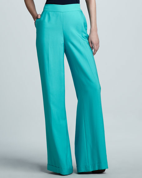 Dalphine Cuffed Wide-Leg Pants, Turquoise