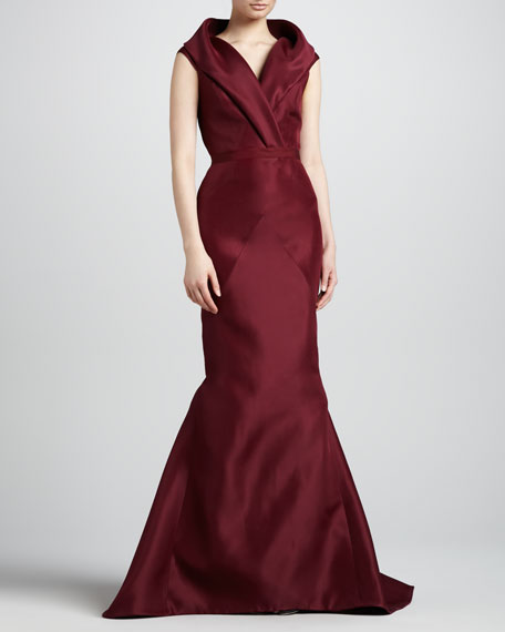 Sleeveless Shawl-Collar Mermaid Gown, Wine