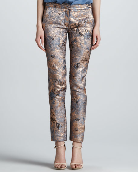 Metallic Cloque Narrow Pants, Rose Gold