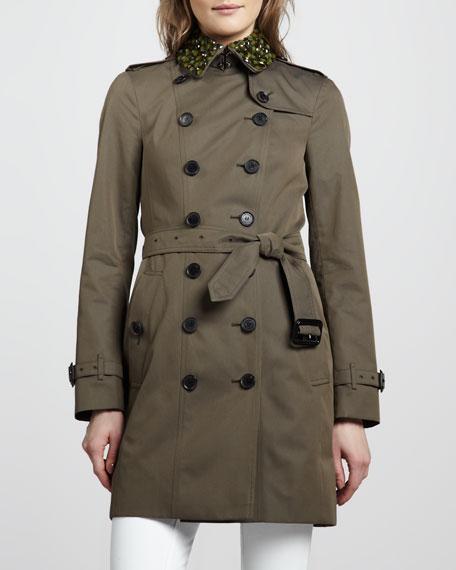 Beaded Cotton Trenchcoat