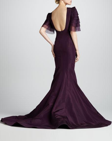 Tiered-Sleeve Keyhole-Neck Mermaid Gown, Aubergine