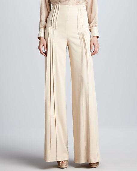 Pleated Wide-Leg Pants, Beige