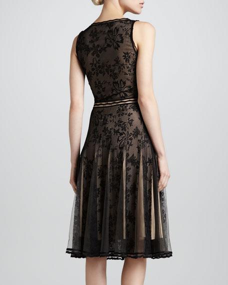 Scoop-Neck Lace Cocktail Dress, Black