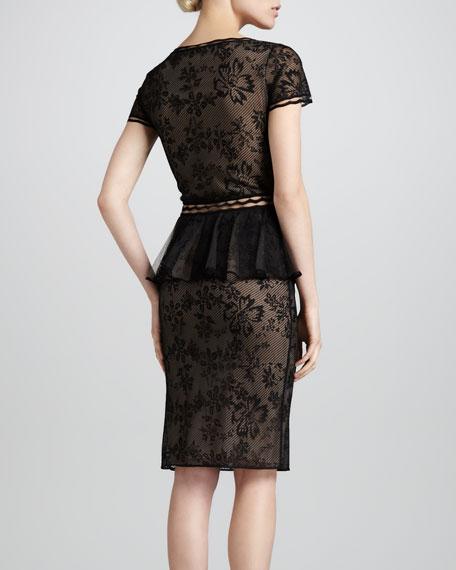Short-Sleeve Lace Peplum Cocktail Dress