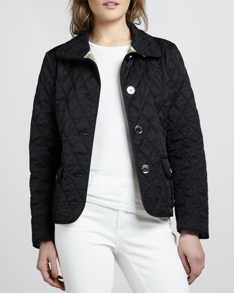 High-Collar Quilted Jacket