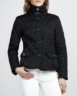 Burberry Brit High-Collar Quilted Jacket