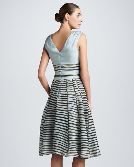 Printed Full-Skirt Combo Dress, Cloud/Taupe
