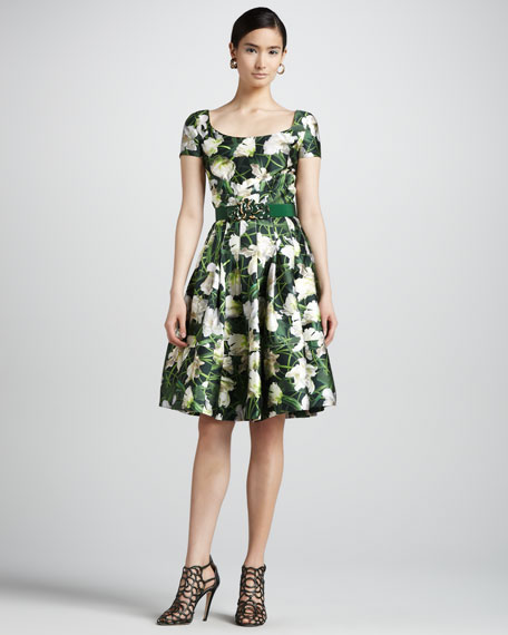 Floral-Print Scoop-Neck Dress, Evergreen