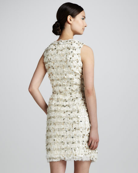 Metallic Tweed Dress, Ivory
