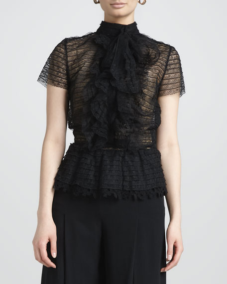 Ruffled Tulle Blouse, Black