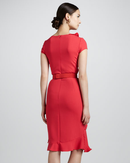 Petal-Collar Dress & Floral Belt, Geranium