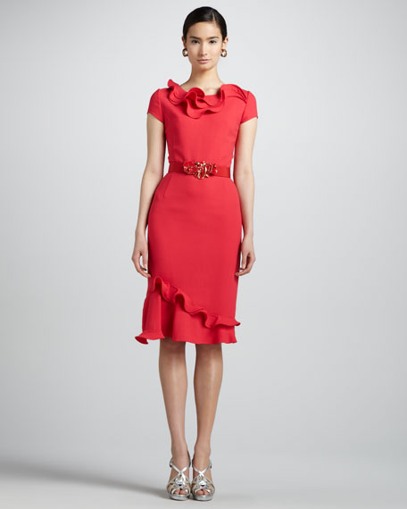 Petal-Collar Dress & Floral Belt, Geranium