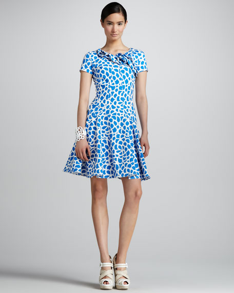 Camellia-Print Dress, Pacific/White