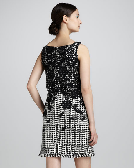 Floral-Embellished Houndstooth Dress
