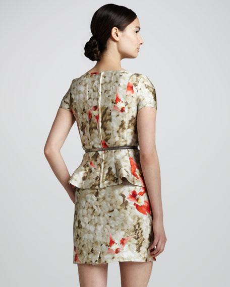 Floral-Print Peplum Dress, Carnation