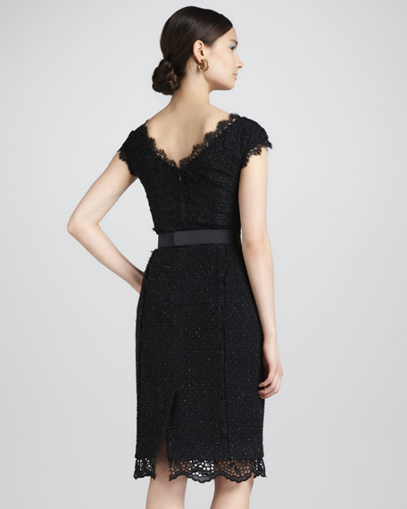 Lace-Trimmed Tweed Dress, Black