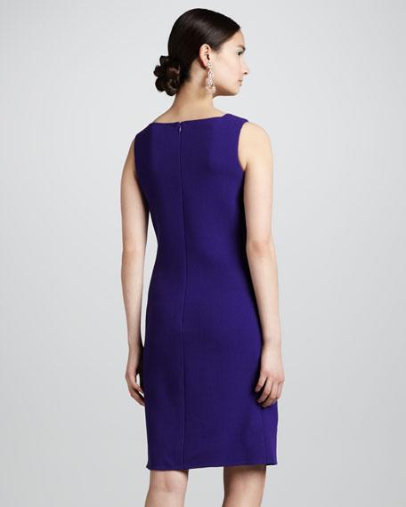 Pocketed Wool Crepe Shift Dress, Violet