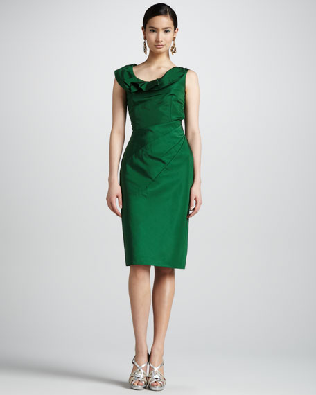 Ruffle-Collar Faille Dress, Evergreen