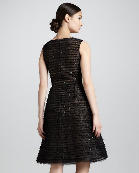 Beaded Bateau-Neck Cocktail Dress, Black