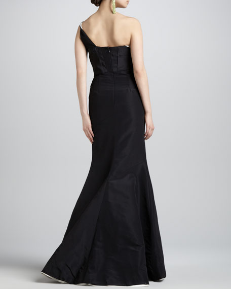 One-Shoulder Two-Tone Gown, Black