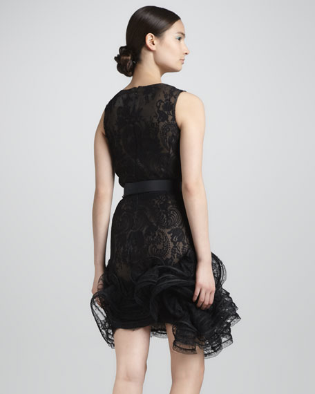 Ruffle-Hem Lace Dress, Black