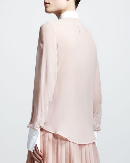 Contrast-Collar Georgette Blouse