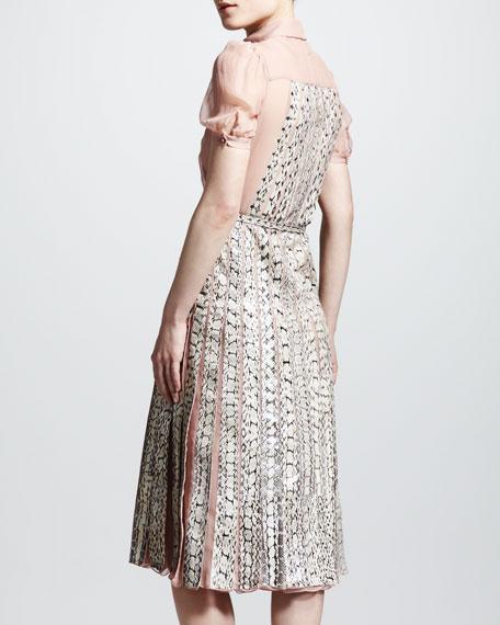 Snakeskin Pleated Dress, Beige