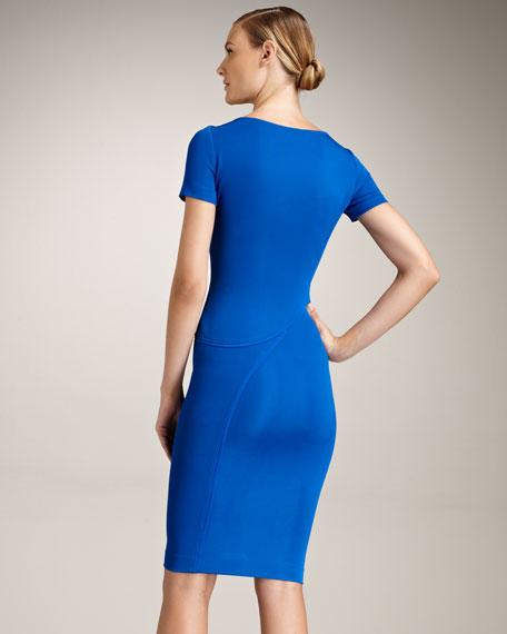 Swirl-Seam Scoop-Neck Dress