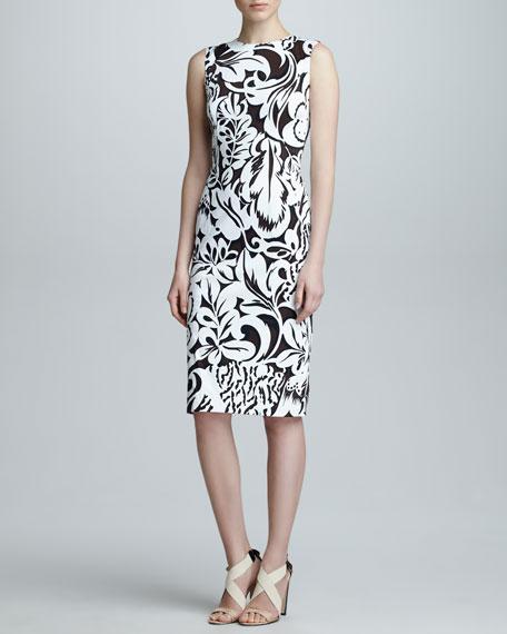 Floral Twill Sheath Dress, Black/White