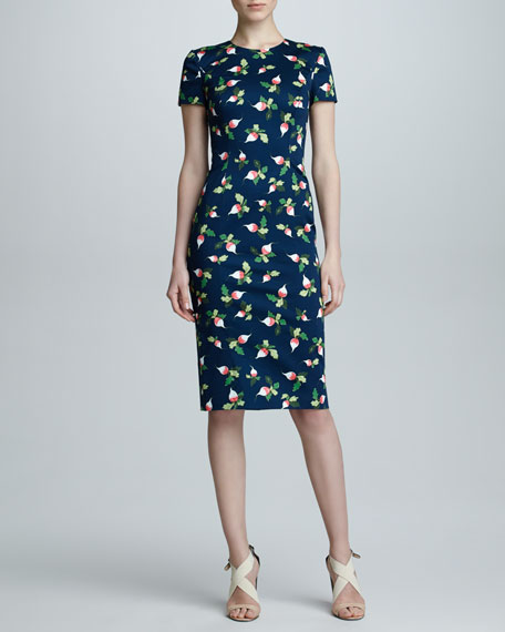 Radish-Print Short-Sleeve Sheath Dress, Navy