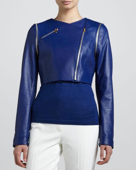 Cropped Lamb Leather Moto Jacket, Blue