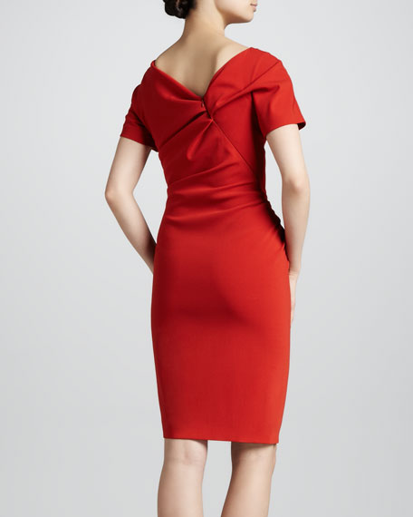 Gathered Wool Crepe Dress, Red