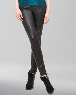Akris punto Seamed Leather Ankle Pants