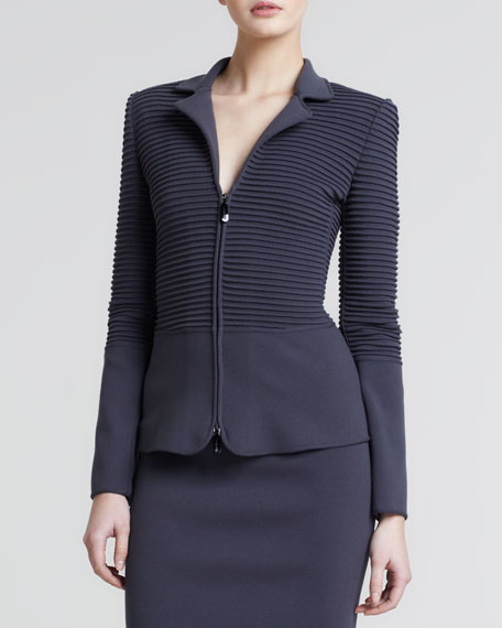 Ottoman Ribbed Zip-Front Jacket, Earth