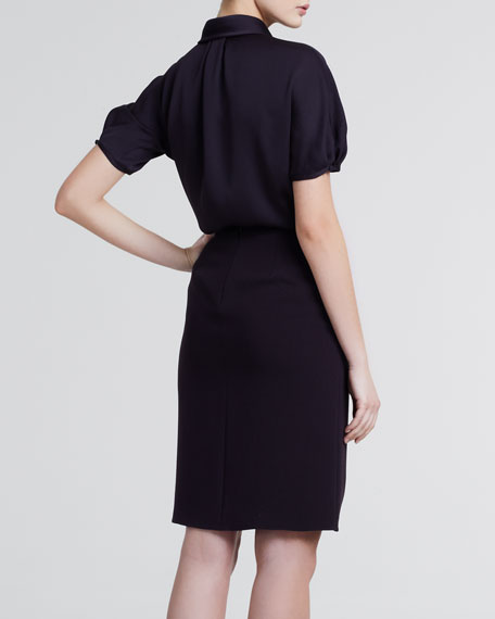 Pleat-Front Straight Skirt, Merlot