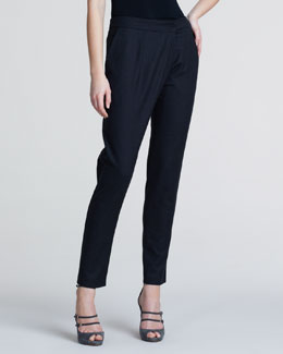 Giorgio Armani Slim Flannel Crossover Trousers, Charcoal