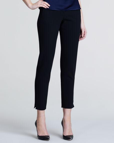 Slim Wool Crepe Trousers, Black